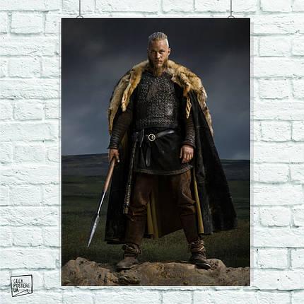 "Постер ""Рагнар с копьём. Сериал Викинги"". Vikings. Размер 60x42см (A2). Глянцевая бумага, фото 2"