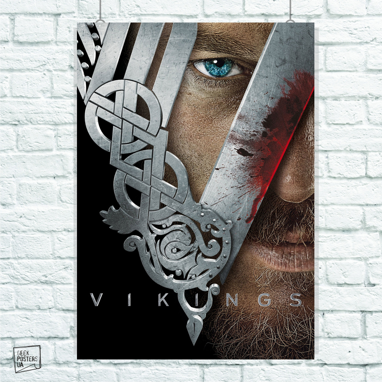 Постер Рагнар и лого. Сериал Викинги, Vikings. Размер 60x42см (A2). Глянцевая бумага