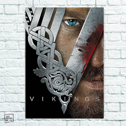 Постер Рагнар и лого. Сериал Викинги, Vikings. Размер 60x42см (A2). Глянцевая бумага, фото 2