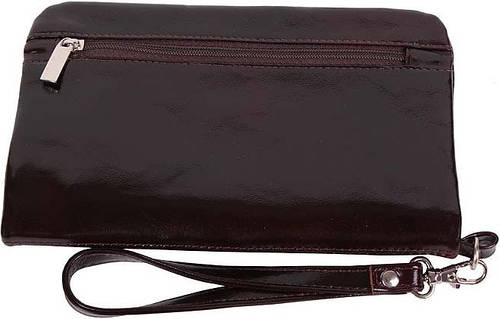 Кожаный изысканный клатч-кошелек, лакированый Vip Collection, Арт. 1505B lac коричневый