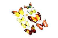 Handmade набор наклейка 3D бабочки коричневые