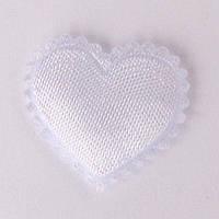 Сердце 1,8*2 см (материал сатин) цвет белый