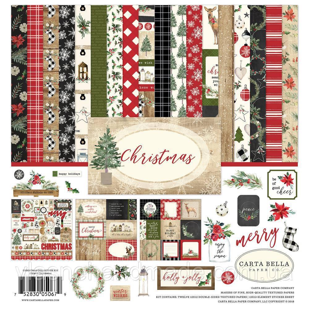 Набір двостороннього паперу  - Christmas - Carta Bella - 30х30