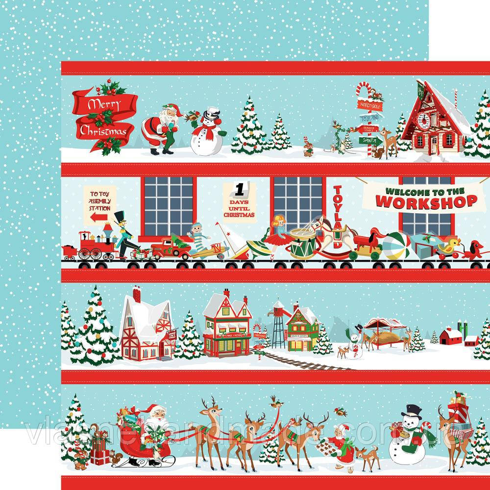 Папір двосторонній - Border Strips - Santa's Workshop - Carta Bella - 30х30