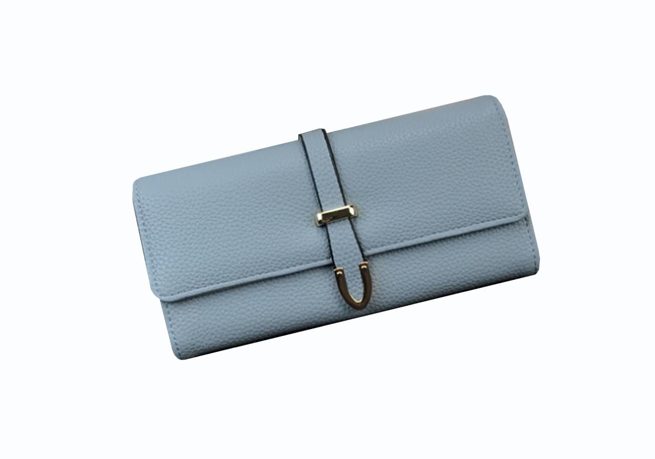 Женский кошелек SUNROZ Korean Fashion кожаное портмоне Голубой (SUN1788)