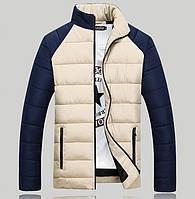 Мужская дутая куртка бежево-синяя на синтепоне