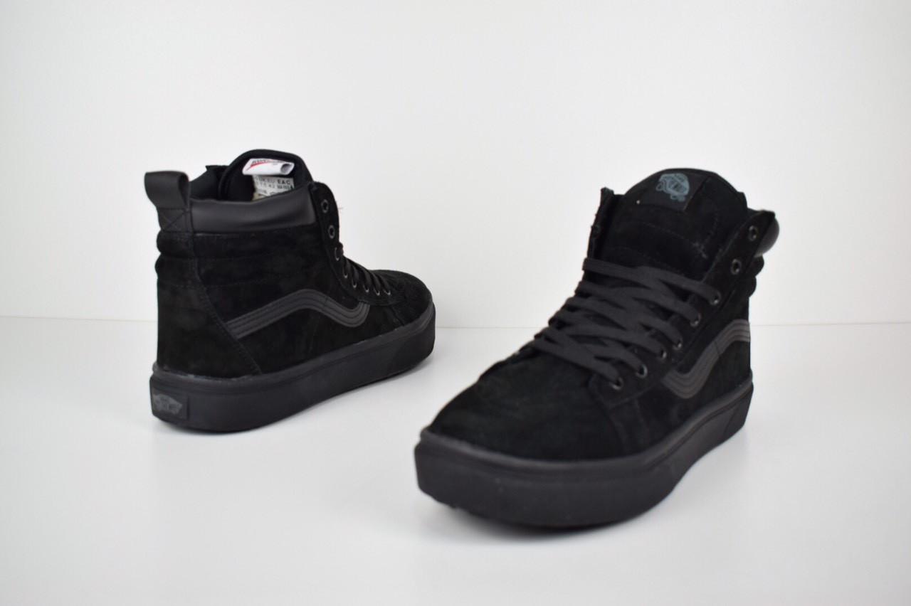 b59bdfc0 Зимние подростковые высокие кроссовки-кеды VANS черные с мехом реплика  (живые фото) -