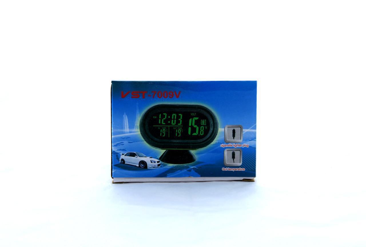 Автомобильные Часы VST-7009v с 2-мя датчиками температуры и вольтметром, меняется цвет экрана