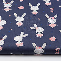 """Ткань хлопковая """"Кролики на качелях"""" на синем фоне, №1521а"""