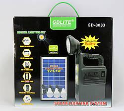 Фонарик GD 8033 с солнечной батареей / USB порт / 3 подвесные лампочки /USB кабель с переходниками