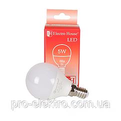 """Світлодіодна лампа EH-LMP-1261 """"куля"""" E14/P45/4100K/5W 450Lm /180°"""