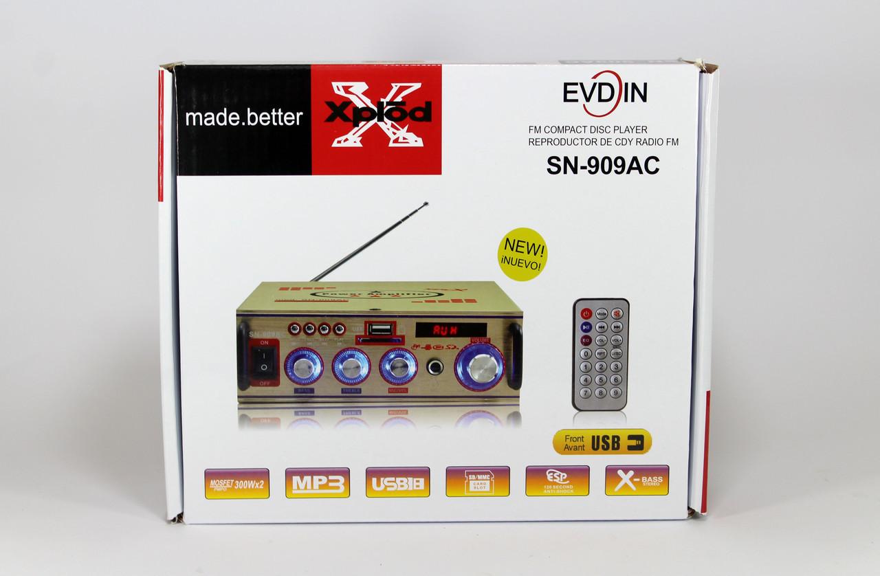 Усилитель звукаAMP 909 + USB порт / Слот для карт памяти SD/MMC /вход для микрофона