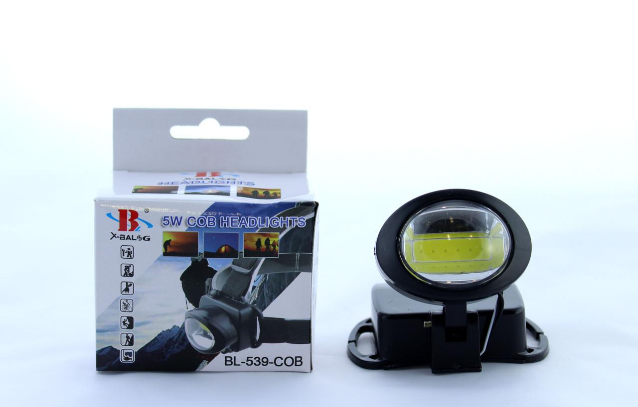 Фонарик светодиодный на лоб BL 539 COB / налобный фонарик LED 5W