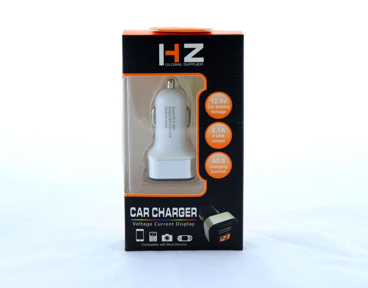 Адаптер USB прикуриватель HZ CAR CHARGER 2.1A USBx2 с вольтметром CAR USB HC1 9001