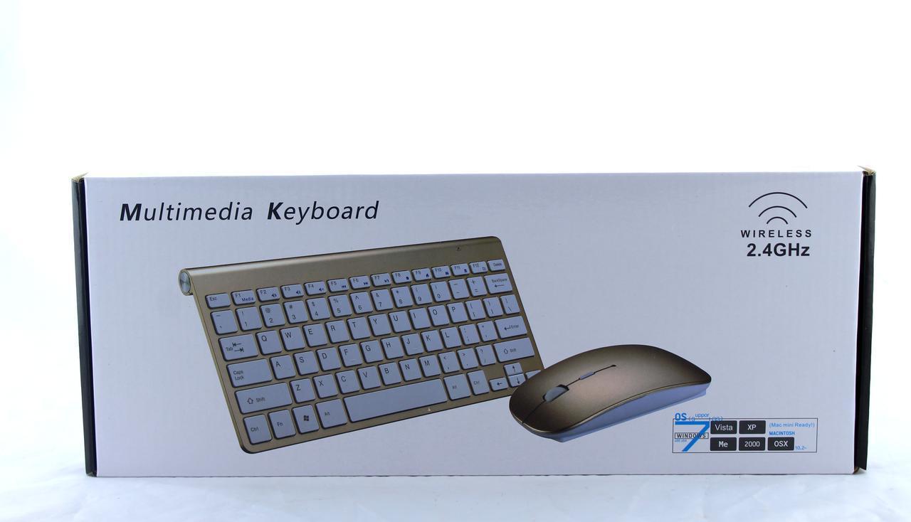 Беспроводная компьютерная клавиатура и мышка wireless 902 Apple / Клавиатура + Мышка