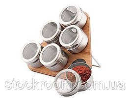 Набор для специй Peterhof PH 12787 на магнитной деревянной подставке