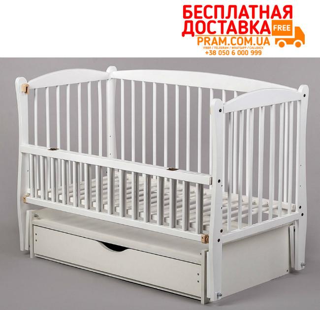 Детская кроватка Элит маятник + ящик + откидной бок Белая