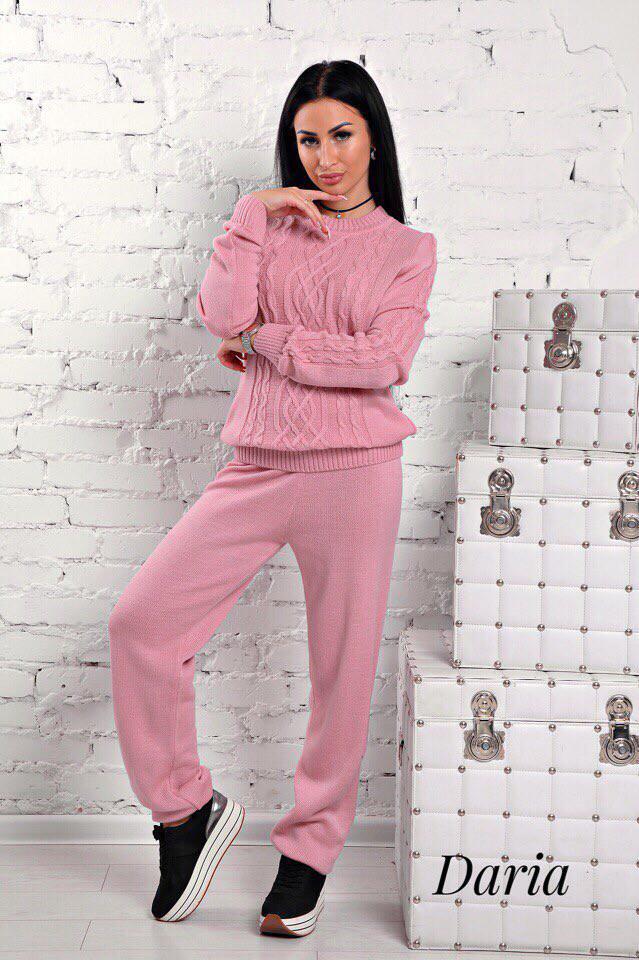 Женский вязаный персиковый костюм  Daria