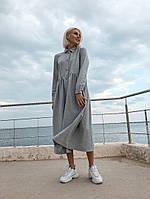 Женское Платье широкого кроя на пуговицах, фото 1