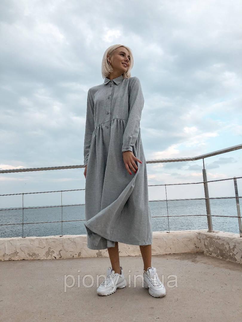 Женское Платье широкого кроя на пуговицах