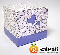 Упаковка для чашки с синими сердечками