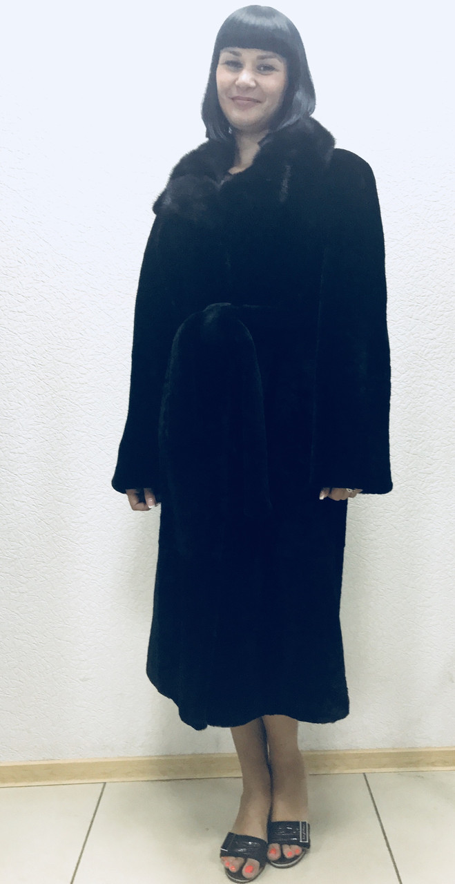 Шуба из бобра чёрная с воротником из норки