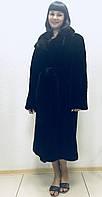 Шуба из бобра чёрная с воротником из норки, фото 1