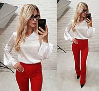 Женская стильная блуза шелк армани длинный рукав белый  , фото 1