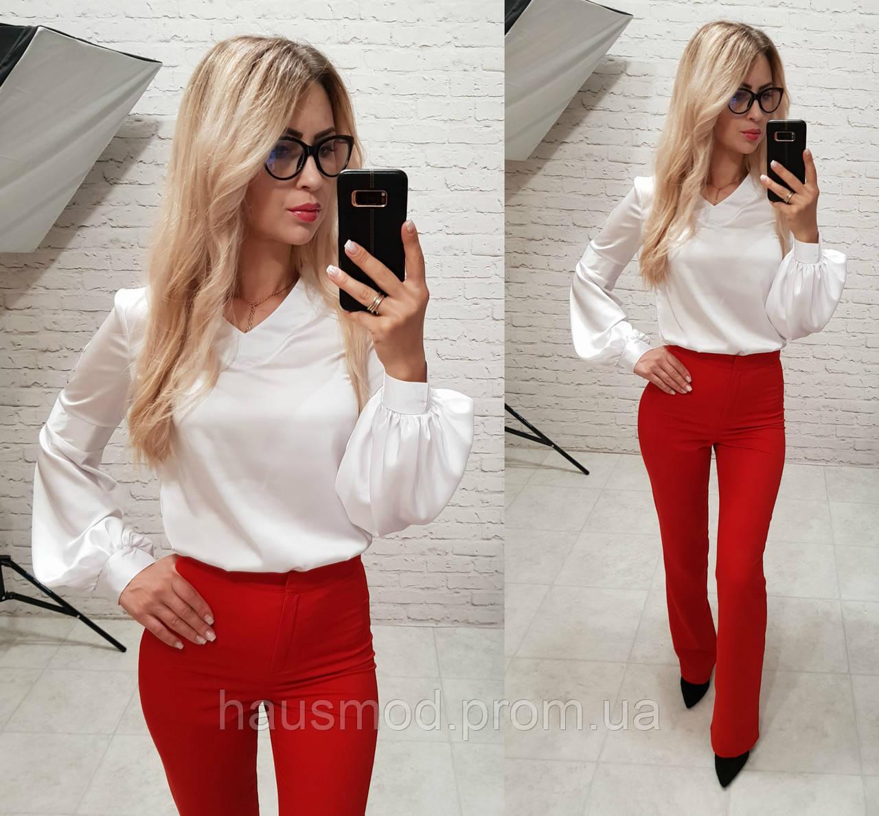 Женская стильная блуза шелк армани длинный рукав белый