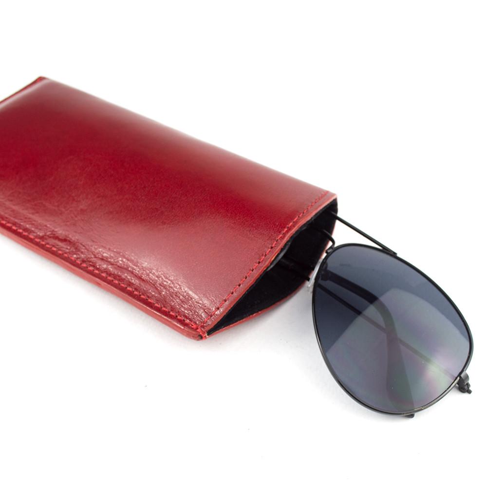 Чехол для очков кожаный Loren G1 red
