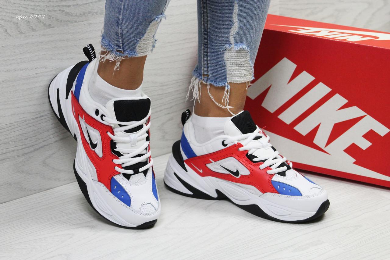 Подростковые кроссовки Nike M2K Tekno,белые c красным 39р