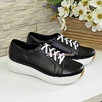 d3618977112c Туфли-кроссовки женские на утолщенной подошве, из натуральной кожи черного  цвета