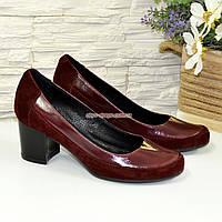 Женские туфли на невысоком каблуке, из натуральной кожи и замши бордового цвета, фото 1