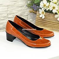 Женские комбинированные туфли на невысоком каблуке, цвет рыжий, фото 1