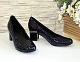 """Туфли женские на невысоком каблуке, из натуральной синей кожи """" крокодил"""", фото 4"""