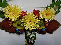 Подарок! Держатель для штор жёлтые хризантемы.