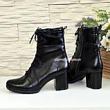 Ботинки демисезонные кожаные на устойчивом каблуке, фото 4