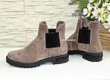 Ботинки замшевые демисезонные свободного одевания на низком ходу, из натуральной замши бежевого цвета, фото 3
