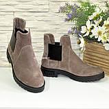 Ботинки замшевые демисезонные свободного одевания на низком ходу, из натуральной замши бежевого цвета, фото 4