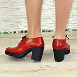 Туфли женские кожаные красные на шнуровке, декорированы фурнитурой, фото 2