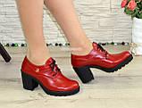 Туфли женские кожаные красные на шнуровке, декорированы фурнитурой, фото 3