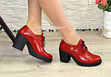 Туфли женские кожаные красные на шнуровке, декорированы фурнитурой, фото 5