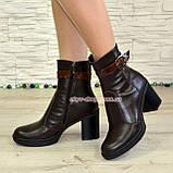 """Женские кожаные демисезонные ботинки, декорированы ремешком из натуральной кожи """"крокодил"""", фото 3"""
