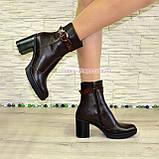 """Женские кожаные демисезонные ботинки, декорированы ремешком из натуральной кожи """"крокодил"""", фото 4"""