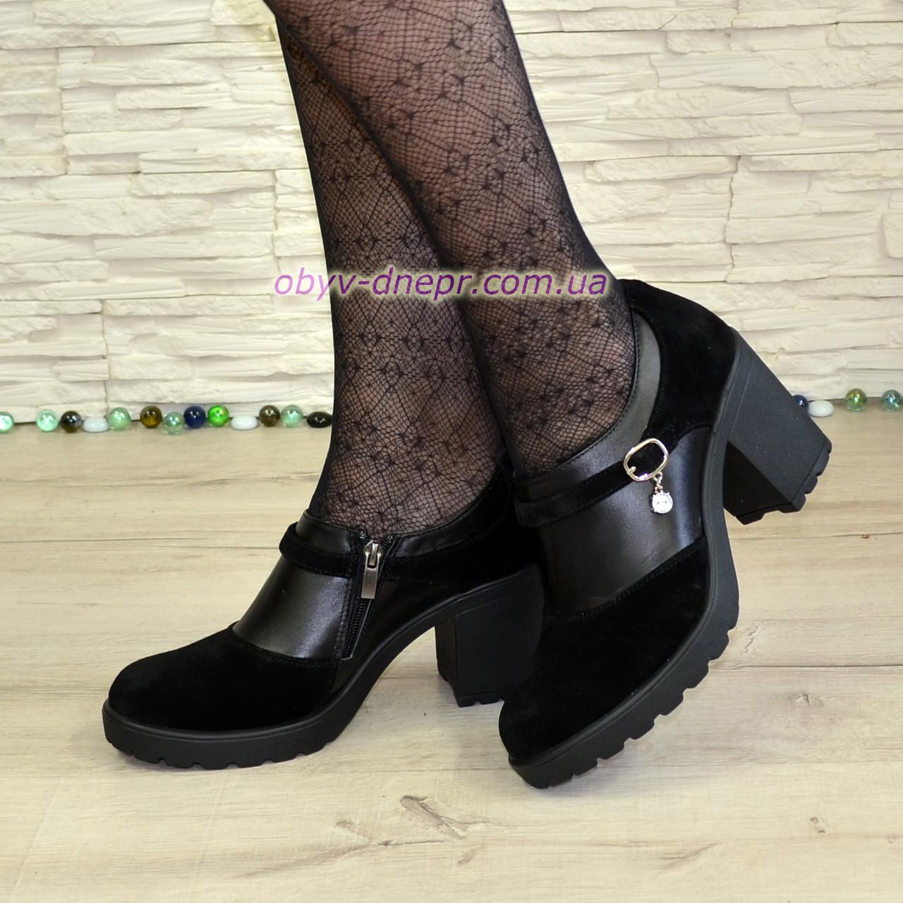 Туфли женские на невысоком устойчивом каблуке, из натуральной замши и кожи