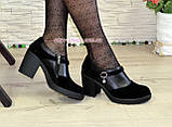 Туфли женские на невысоком устойчивом каблуке, из натуральной замши и кожи, фото 2