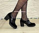 Туфли женские на невысоком устойчивом каблуке, из натуральной замши и кожи, фото 4