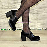 Туфли женские на невысоком устойчивом каблуке, из натуральной замши и кожи, фото 5