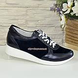 Стильные женские кроссовки на шнуровке, из натуральной кожи и замши синего цвета, фото 2