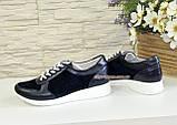 Стильные женские кроссовки на шнуровке, из натуральной кожи и замши синего цвета, фото 4